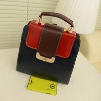 2013 women's handbag bag fashion vintage color block bag handbag messenger bag small bag backpack bag