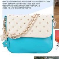 Free shipping! 2013 women's handbag rivet small bag messenger bag small fresh candy color chain bag mini  bags and women's bag