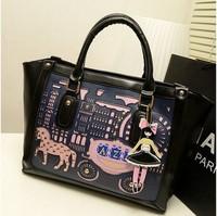 2013 women's handbag vintage cutout cartoon bag fashion color block patchwork bag all-match  and tote bag