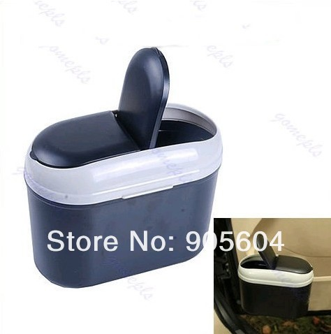 Mini Car Dustbin Trash Rubbish Can Garbage Dust Box Case Holder Bin Hook Gray(China (Mainland))