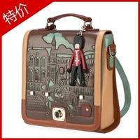 2013 new, Vintage  preppy style color block double-shoulder cutout back bag one shoulder crossbody portable women's handbag