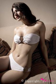 White Sexy Bikini Lingerie With Ring LC4105 Cheap   biquinis women tankini vestidos langerie