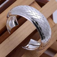 B024 Hot Sell! Men,Women, charms 925 silver bangle bracelet, 925 silver fashion jewelry Bracelet, Weaved Silvery Bangle
