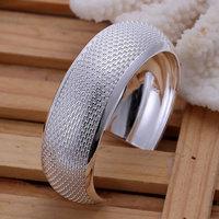 B032 Hot Sell! Wholesale 925 silver bangle bracelet, 925 silver fashion jewelry Bracelet, Big Weaved Bangle Men,Women, charms