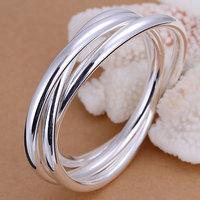 B047 Hot Sell! Wholesale 925 silver bangle bracelet, 925 silver fashion jewelry Bracelet, Triple Ring Bangle Men,Women, charms