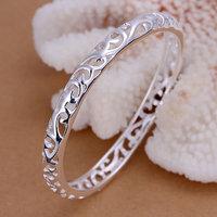 B156 Hot Sell! Men,Women, charms 925 silver bangle bracelet, 925 silver fashion jewelry Bracelet, Closed Hollow Flower Bangle