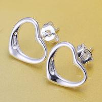 E099 Wholesale 925 silver earrings, 925 silver fashion jewelry, Warm Heart Earrings 18k, Plated.Gold ,Women ,zircon