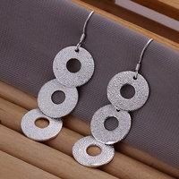 E140 Wholesale 925 silver earrings, 925 silver fashion jewelry, Round Plate Earrings
