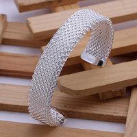 B029 Hot Sell! Wholesale 925 silver bangle bracelet, 925 silver fashion jewelry Bracelet, Brass Web Bangle Men,Women, charms