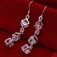 E206 Wholesale 925 silver earrings, 925 silver fashion jewelry, White Stone Earrings