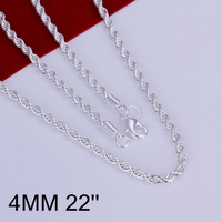 N067-22 free shipping wholesale 925 silver necklace, 925 silver fashion jewelry Shine Twisted Line 4mm 22 inches Necklace N0