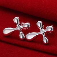 E034 Wholesale 925 silver earrings, 925 silver fashion jewelry, Water Drop and Cross Earrings 18k, Plated.Gold ,Women ,zircon
