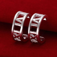 E046 Wholesale 925 silver earrings, 925 silver fashion jewelry, Half Round Rome Earrings 18k, Plated.Gold ,Women ,zircon