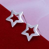 E107 Wholesale 925 silver earrings, 925 silver fashion jewelry, Hollow Star Earrings 18k, Plated.Gold ,Women ,zircon