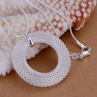 P054 fashion jewelry chains necklace 925 silver pendant Network circle pendant ,Men,Women, Chains