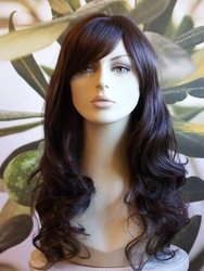 Mimicry Human Hair no lace Front hot-Lady FABULOUS LONG DARK BROWN LADIES WIG B07 KIMS(China (Mainland))