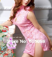Hot new Free size lace Pink color sexy cheongsam costumes sexy Lingerie Dress with G-STRING UL009
