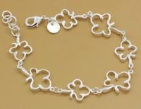 Wholesale & Retail cheap charms Clover  925 Silver  Bracelet a183