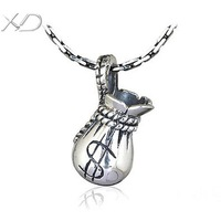 XD KM244 925 sterling silver mini moneybag with $ symbol vintage beads for jewelry making