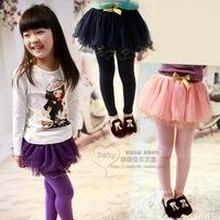 2013 clothing girls ruffle hem short gauze half-length skirt lycra cotton basic skirt pants a0018
