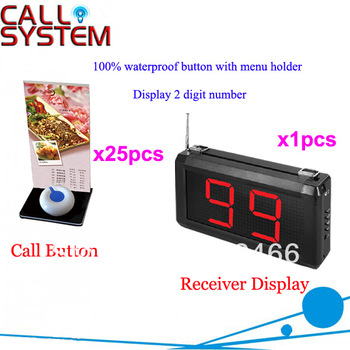 Wireless Paging System for restaurant equipment with table button and LED number screen panel Free Shipping