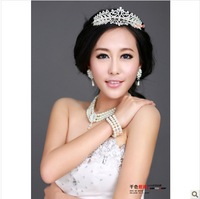 Free Shipping! LuxurybBeautiful Pearl With Rhinestone Royal Style Big Bridal Tiaras Crown Wedding Hair Accessories QHG011