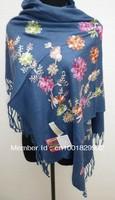 HOT SELL Fashion Women's Silk Pashmina Embroider Shawl/Scarf Wrap Flower navy blue PTH-3