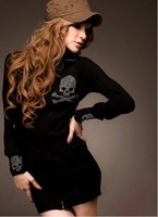 2014 new style women's fashion zipper Rhinestone skull hoodies sweatshirt Free Shipping