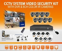 cctv dvr kits,600TVL Security Camera System with 8CH H.264  FULL D1 Network  DVR Color Cameras kit,