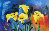 Pure hand-painted oil painting, bright yellow calla lily Free Shipping