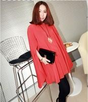 2012 summer loose plus size chiffon skirt shirt queen sleeve cape chiffon one-piece dress