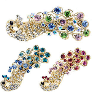 Fashion Mark Dearbaby accessories luxury rhinestone alloy peacock hairpin hair pin hair accessory 1002(China (Mainland))