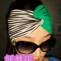 Fashion spring and summer emerald headbands black and white stripes cross green wide ribbon bandanas wide hair bands