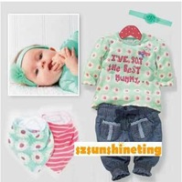 Spring Autumn baby girl suit Next green mummy long sleeve T-shirt + Jeans + 2 bibs + hairband 5 piece cotton set free shipping