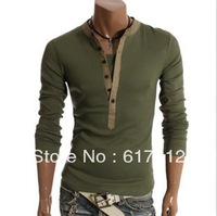 2013 Free Shipping summer fashion t shirts Korean version of the open fake two-piece the boots casual men's long-sleeved T-shirt