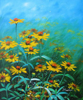 Pure hand-painted oil painting, yellow aster, Free Shipping