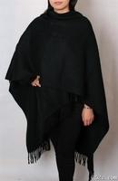 Free Shipping New Womens 100% Wool Cashmere black Plain Shawl Warm Wrap SY-3