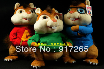 New Alvin and the Chipmunks cartoon dolls plush toys 25cm 3 color kids plush gifts christmas gifts  free shipping