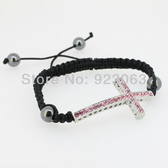Fashion Light Rose Crystal White Gold Curved Sideways Cross Connector Bead Adjustable Black Macrame Rope Bracelet(China (Mainland))
