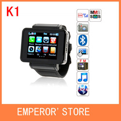 "k1 iwatch GSM Quadband Watch Mobile Phone,1.55"" Camera Flashlight,Compass,Bluetooth,FM,MP3 1pcs/lot(China (Mainland))"