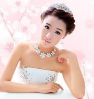 Free shipping wedding jewelry: small plum flower Korea rhinestone crown, necklace, earrings, three things