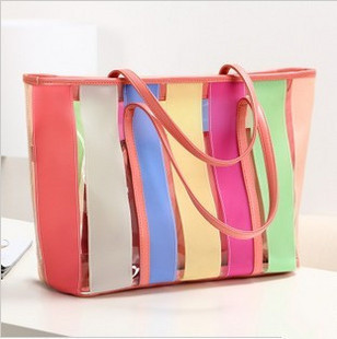 Free shipping/NEW ARRIVAL 2013 Contrast color jelly beach bags & Sweet candy color rainbow transparent lash package,Z-188