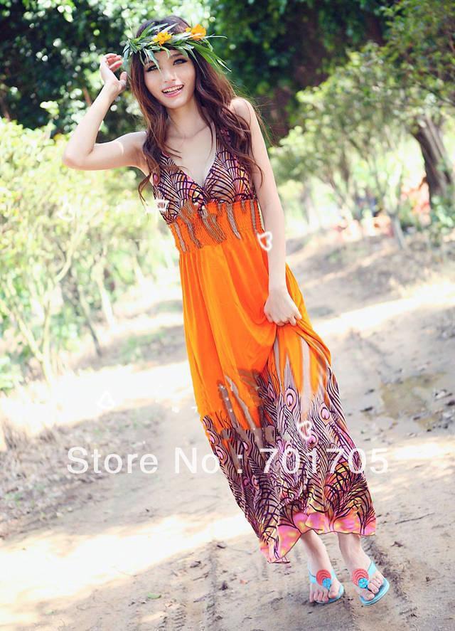 Amazing ~dress fashion Casual New style Women's Bohemian Peacock Tail ...