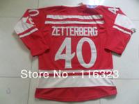 Wholesale- 2014 Winter Classic Henrik Zetterberg #40  Red Hockey Jersey Size:48~56+Mix Order,EMS Free Shipping