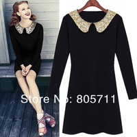 Hotting Black Peter Pan Collar Gray Long Sleeve Sequined Turn-down Collar Silm Fit Mini Cute Dresses