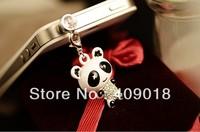 Free Shipping - wholesale plug  Cute super adorable panda Superman black rim of the eye of the dustproof plug qnpfc