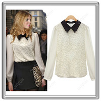 S5Q 2013 Ladies Sweet Lace Chiffon Solid Color Turn-Down Bead Collar OL Top Blouse