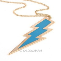 6pcs Free shipping  fashion jewelry charming flashing lightning drop oil long necklase /sweater chain 60268-60271