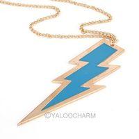 Free shipping  fashion jewelry charming flashing lightning drop oil long necklase /sweater chain 60268-60271