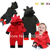 Free Shipping Children Wear infant Kid's boy's hooded  red and black animal model long sleeve Baby Romper